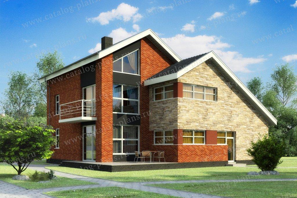 Проект жилой дом #49-88B материал - кирпич, стиль современный