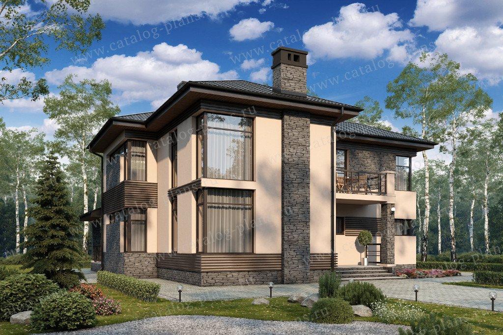 Проект жилой дом #57-21K материал - кирпич, стиль современный