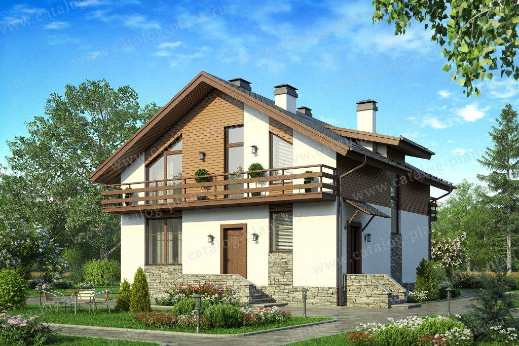 Проект жилой дом #58-13 материал - газобетон, стиль шале