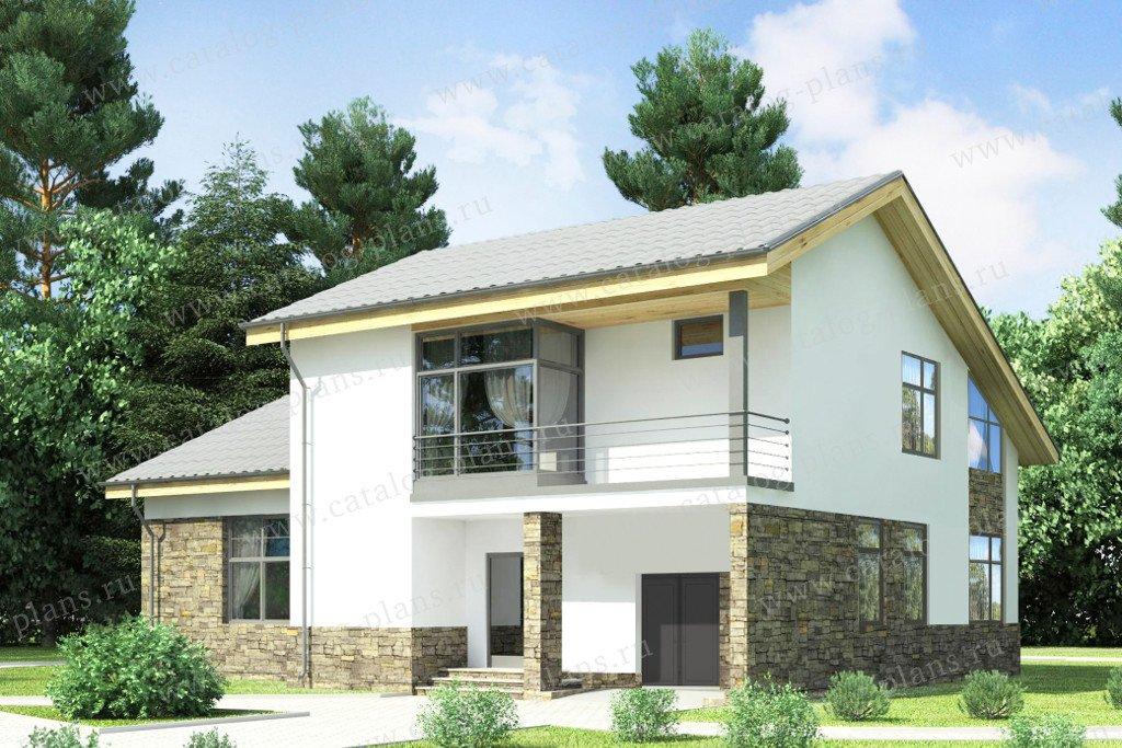 Проект двухэтажного дома из газобетона 59-25d в скандинавско.