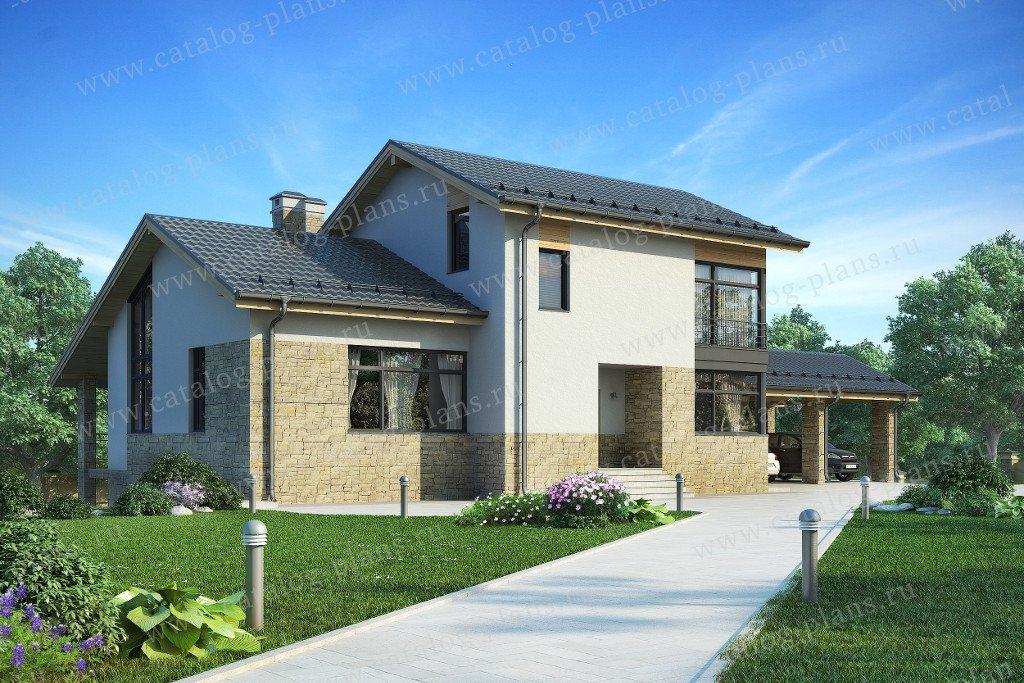 Проект жилой дом #59-25EK материал - кирпич, стиль скандинавский