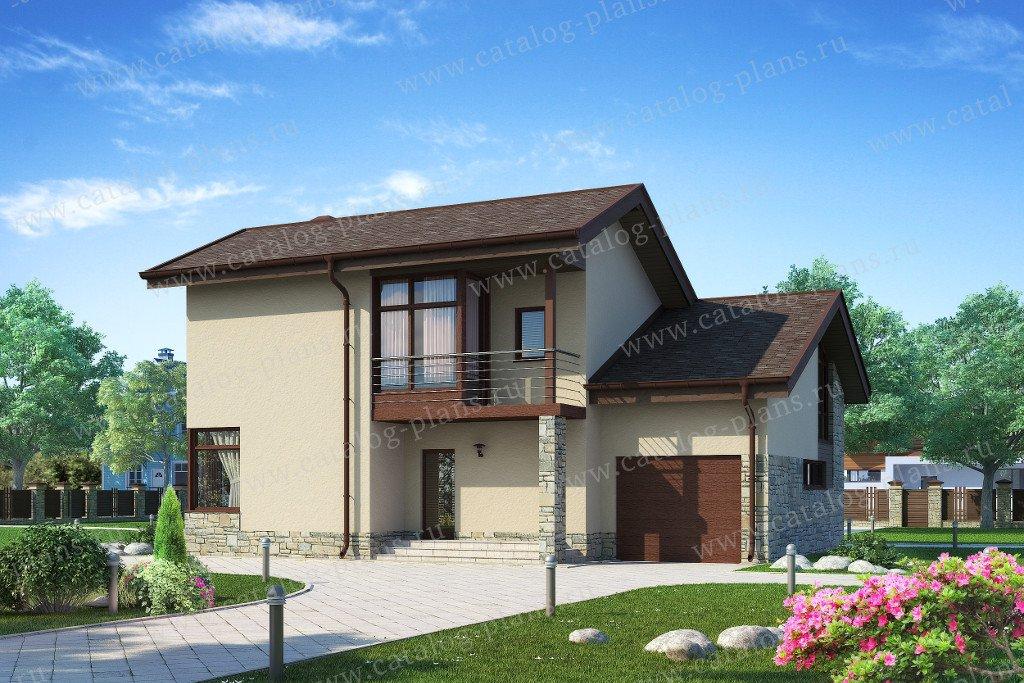 Проект жилой дом #59-24P материал - кирпич, стиль скандинавский