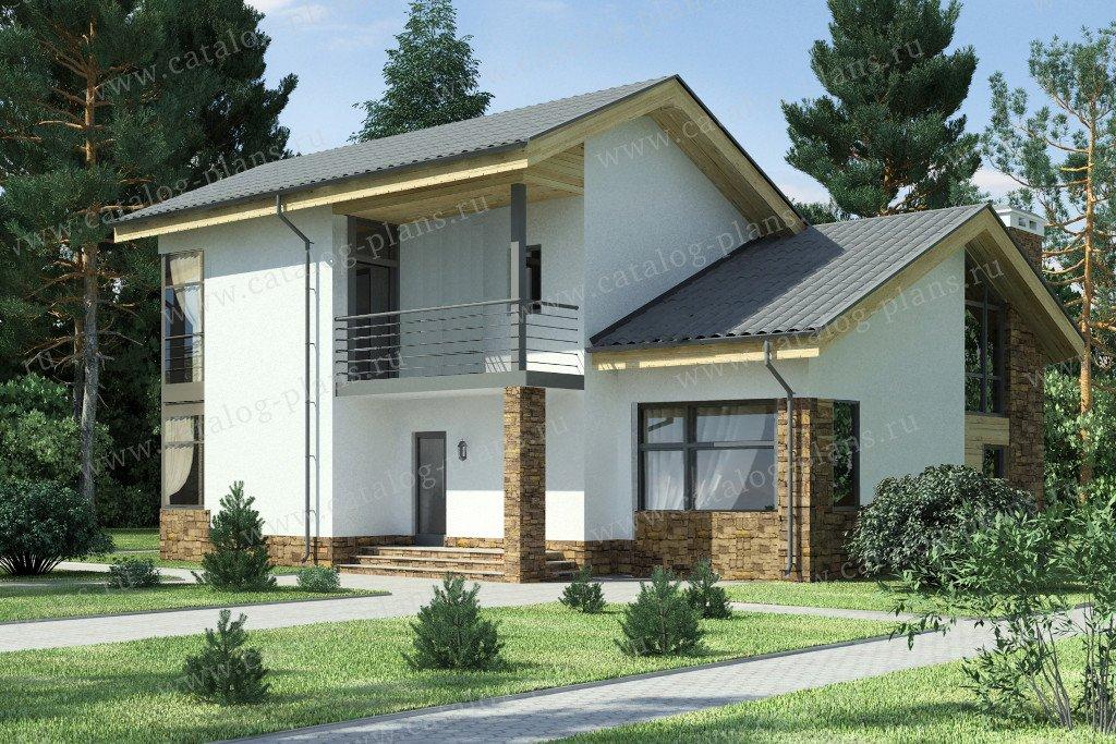 Проект жилой дом #59-24D материал - газобетон, стиль скандинавский