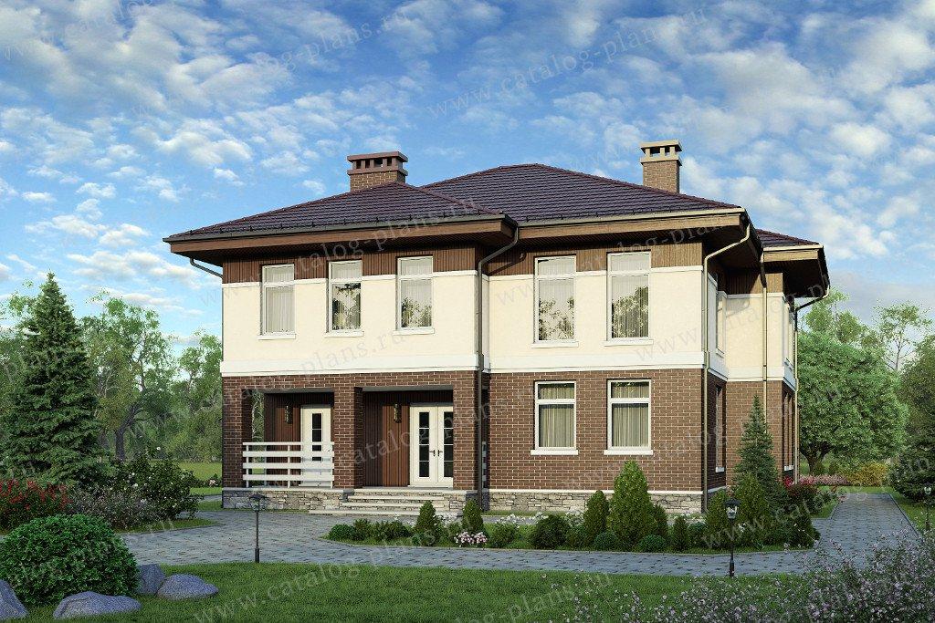 Проект жилой дом #58-19K материал - кирпич, стиль европейский