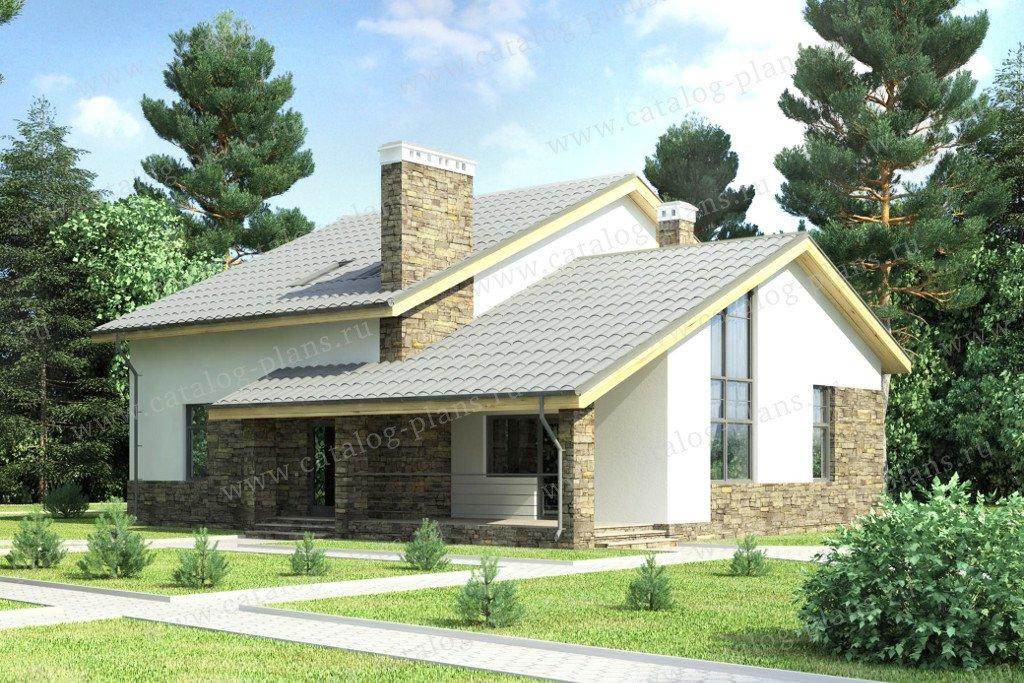 Проект жилой дом #59-25B материал - газобетон, стиль скандинавский