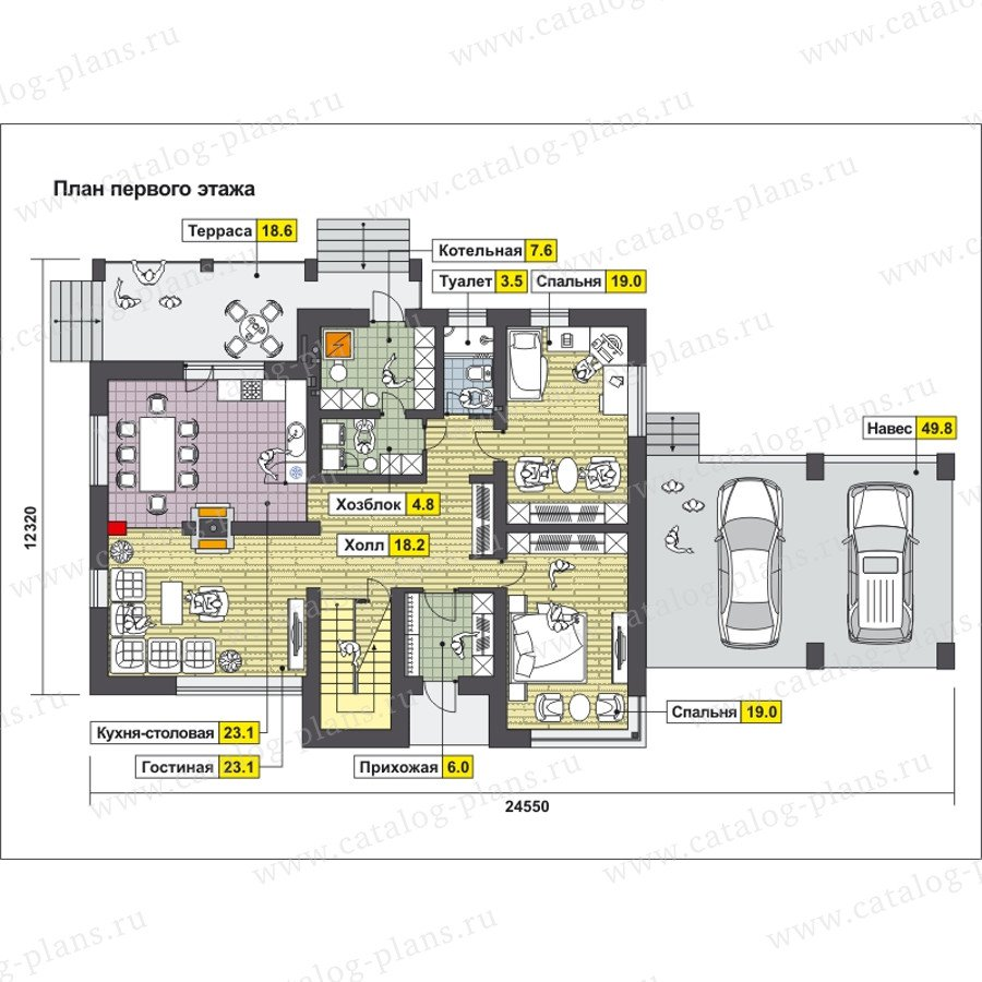 План 1-этажа проекта 59-25AK