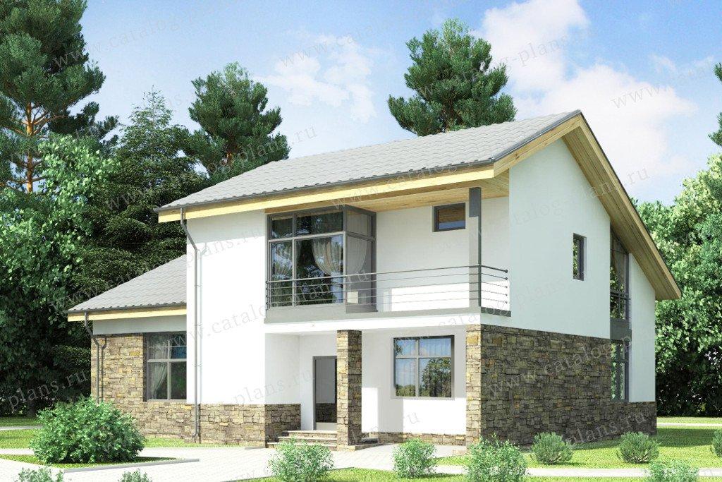 Проект жилой дом #59-25C материал - газобетон, стиль скандинавский