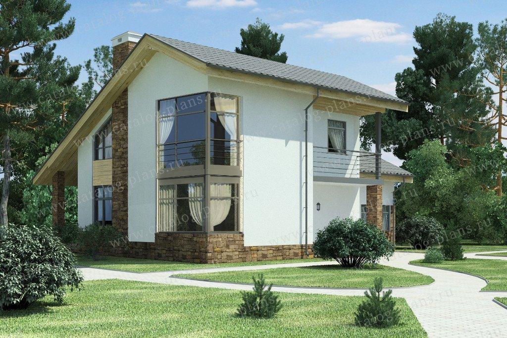 Проект жилой дом #59-24E материал - газобетон, стиль скандинавский