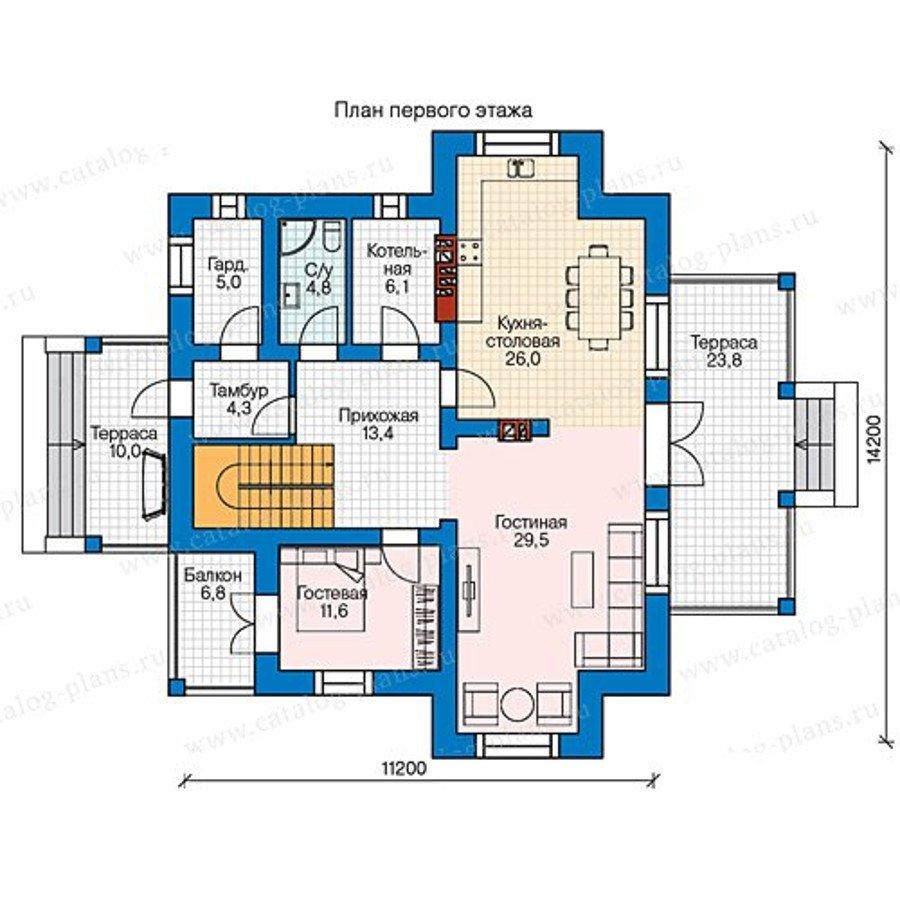 Проект двухэтажного кирпичного дома 58-12kl в стиле в стиле .
