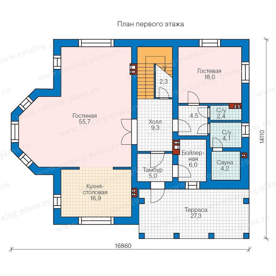 План 1-этажа проекта 58-03
