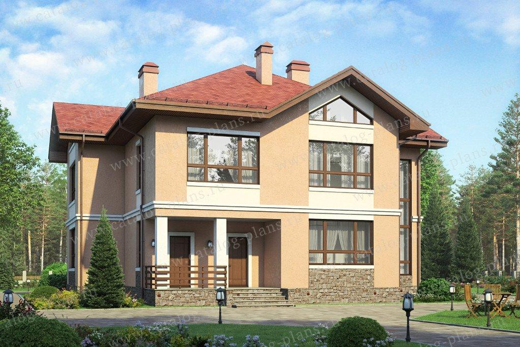 Проект жилой дом #58-36K материал - кирпич, стиль современный