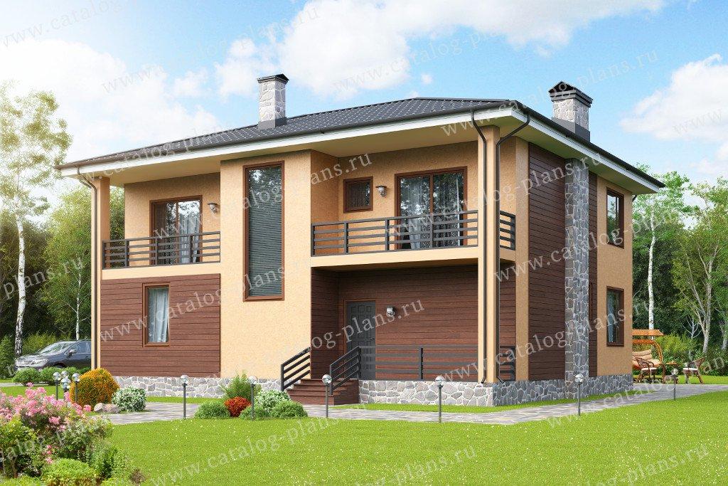 Проект жилой дом #58-17K материал - кирпич, стиль современный