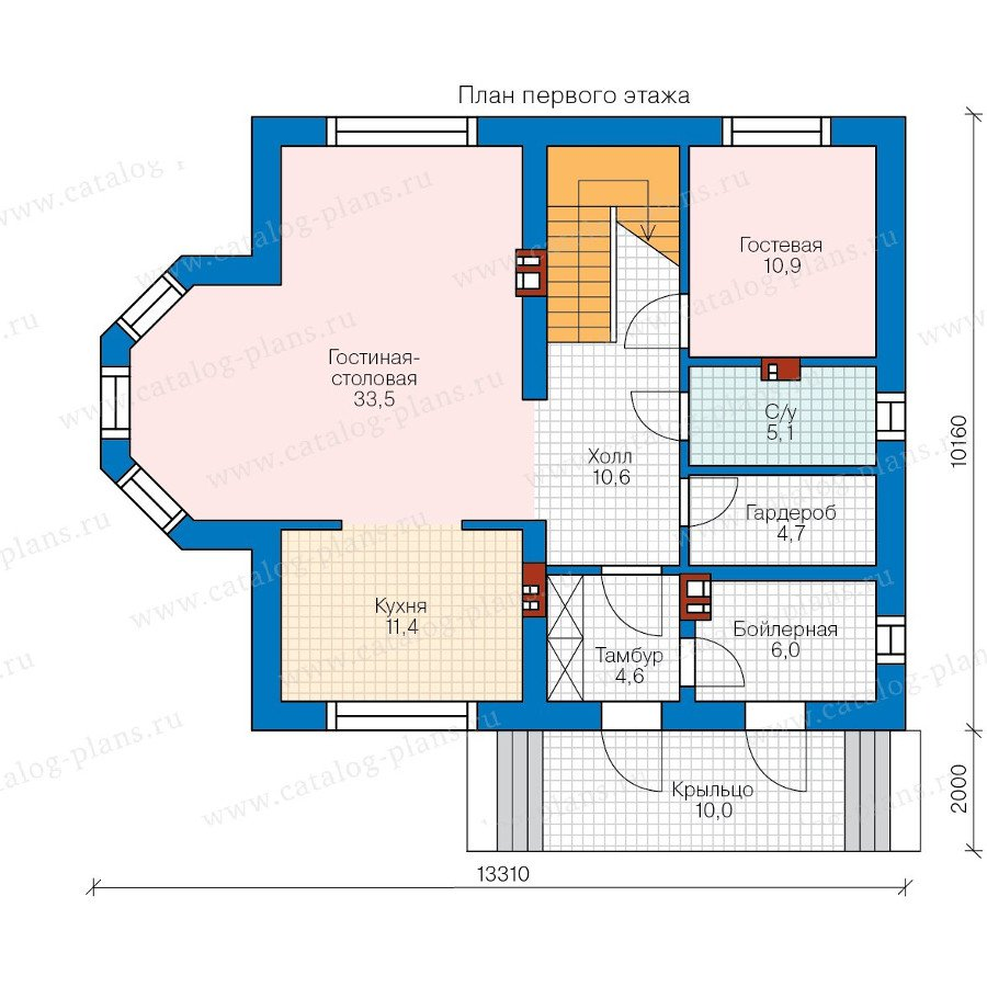План 1-этажа проекта 58-38