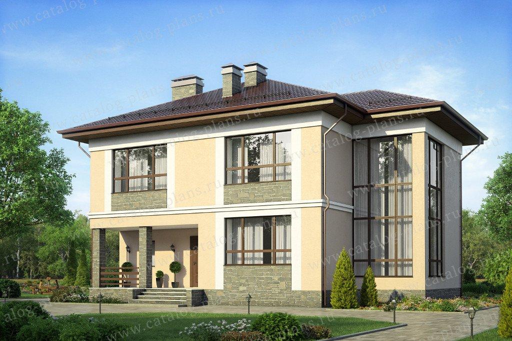 Проект жилой дом #58-35K материал - кирпич, стиль современный