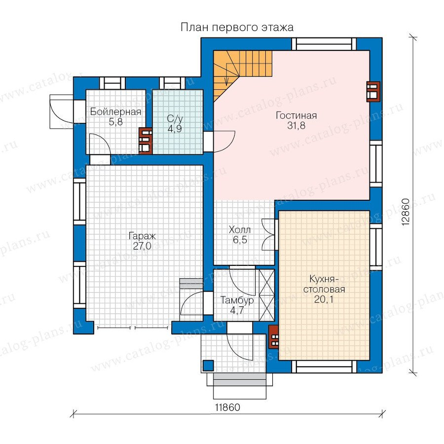План 1-этажа проекта 58-37K