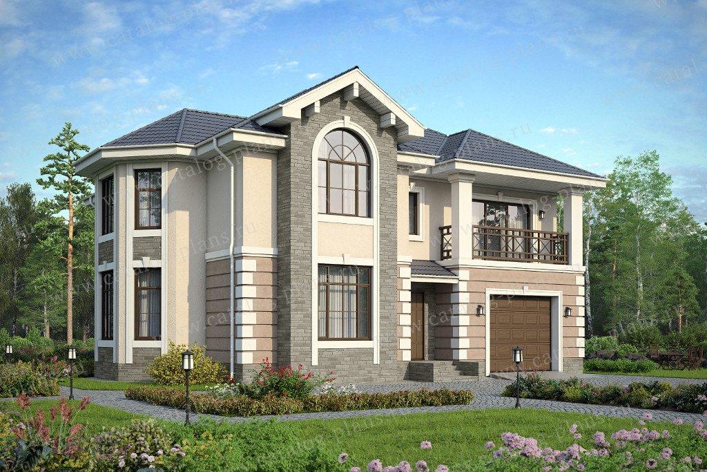 Проект жилой дом #57-53 материал - газобетон, стиль европейский