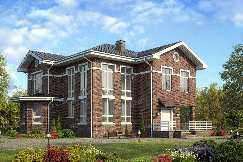 Проект жилой дом #58-30L материал - газобетон, стиль английский