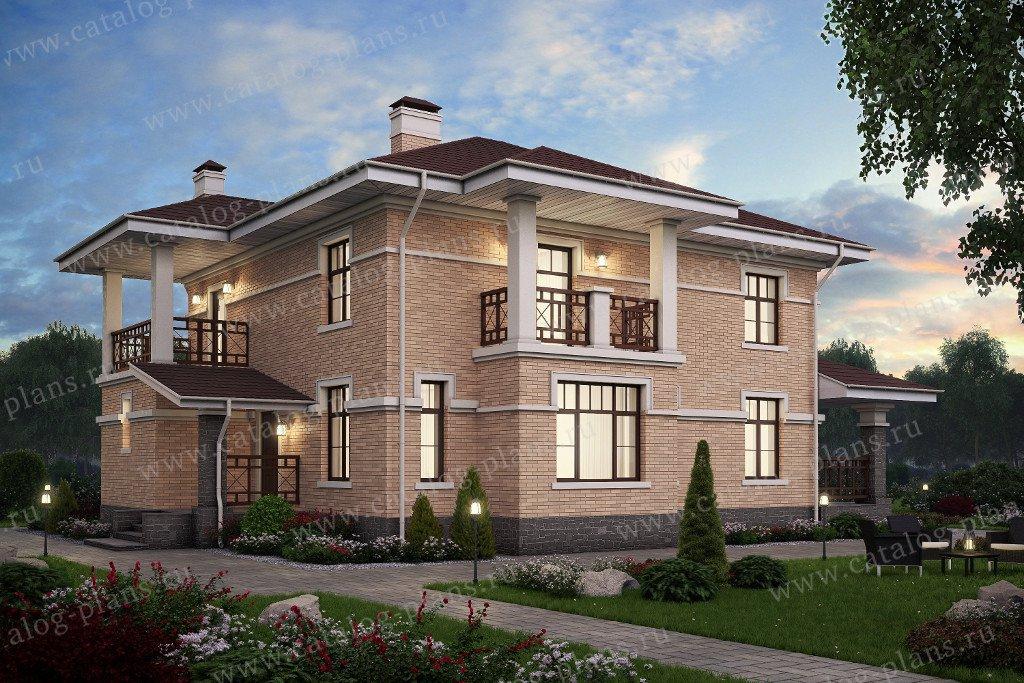 Проект жилой дом #57-46K1 материал - кирпич, стиль современный