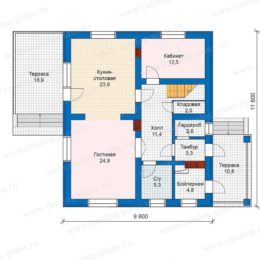План 1-этажа проекта 57-50Кедрал