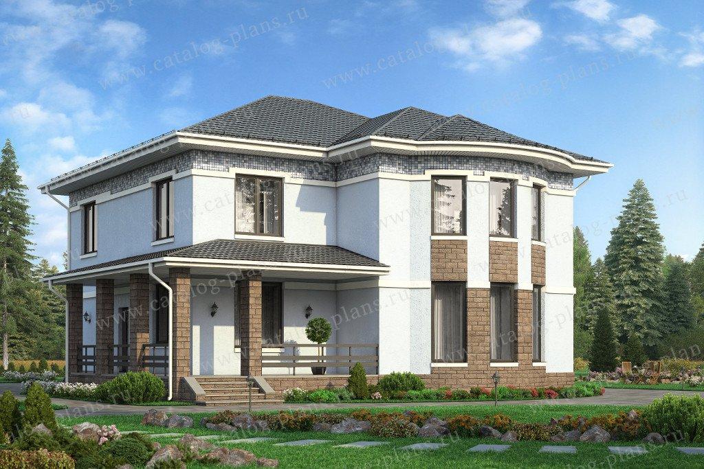 Проект жилой дом #57-60A материал - газобетон, стиль европейский
