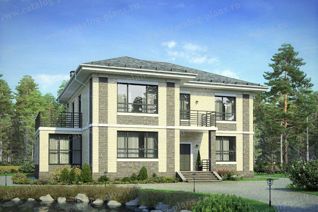Проект жилой дом #40-40L материал - кирпич, стиль европейский