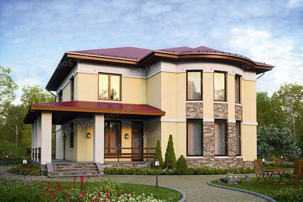 Проект жилой дом #57-60K материал - кирпич, стиль европейский