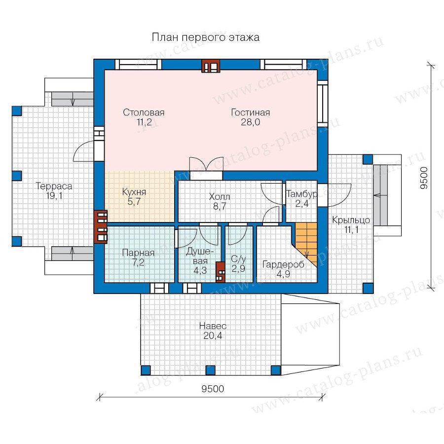 План 1-этажа проекта 57-91