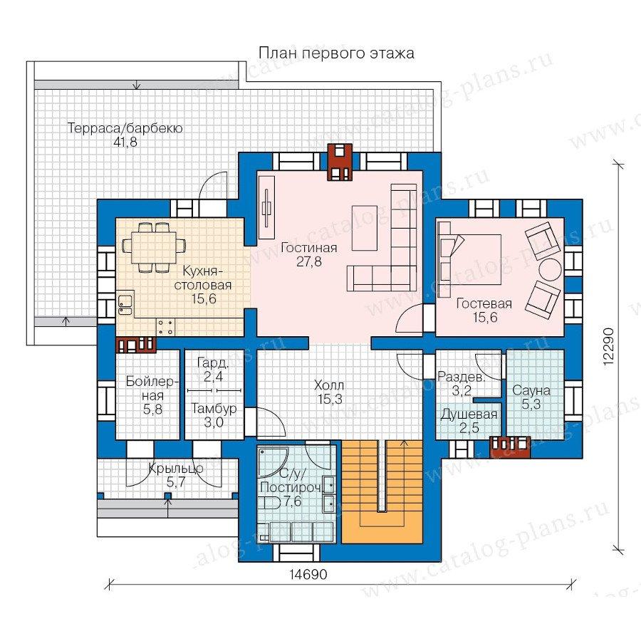 План 1-этажа проекта 57-85L