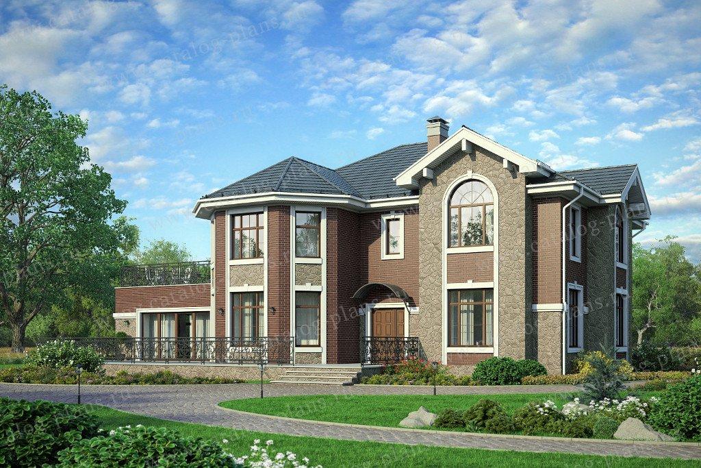 Проект жилой дом #57-92K материал - кирпич, стиль европейский