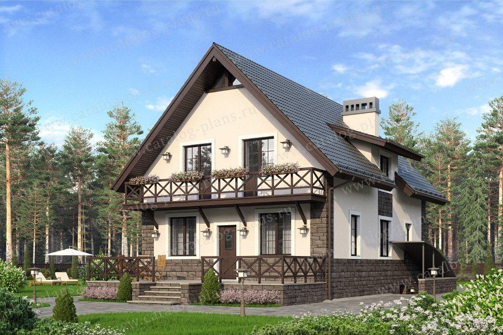 Проект жилой дом #57-73K материал - кирпич, стиль европейский