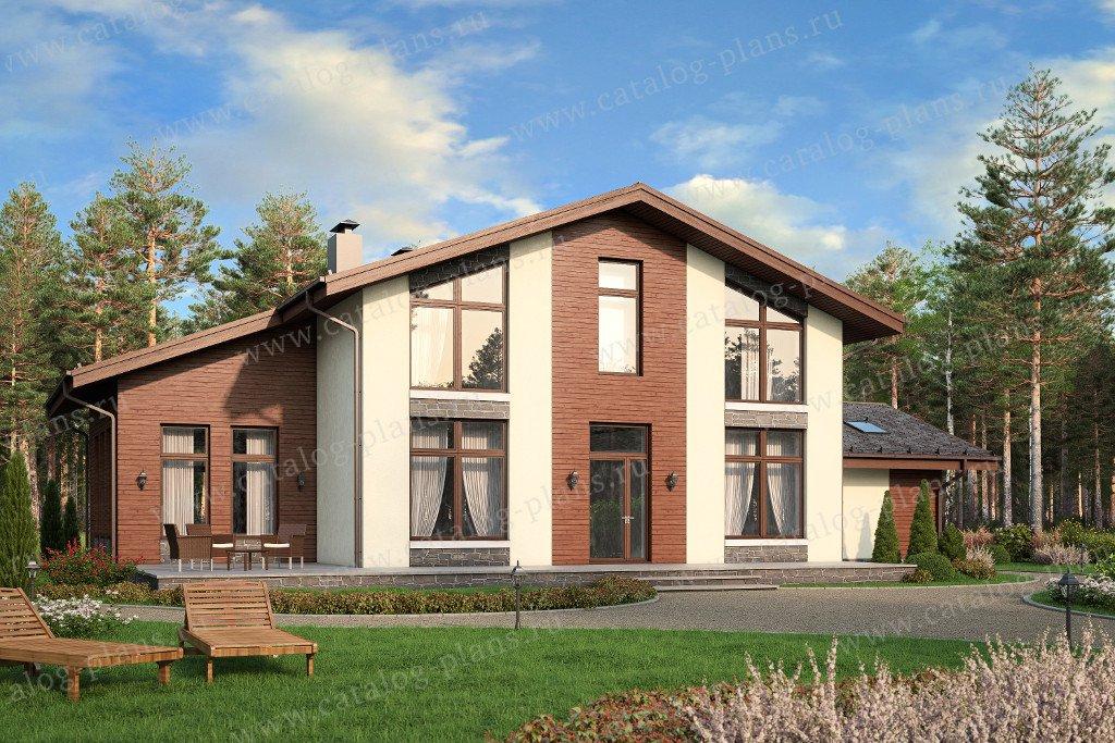 Проект жилой дом #57-88K материал - кирпич, стиль скандинавский