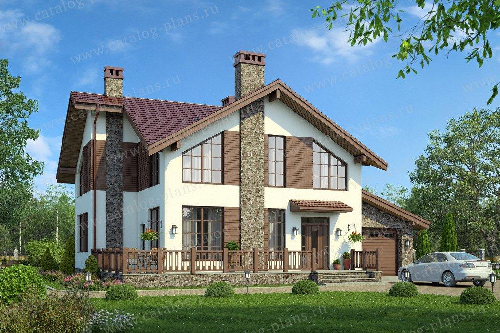 Проект жилой дом #57-95K материал - кирпич, стиль скандинавский