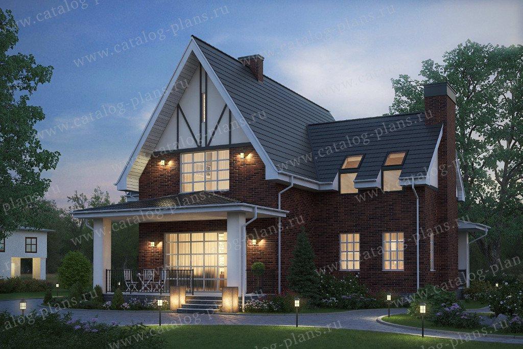 Проект жилой дом #57-94K материал - кирпич, стиль лофт