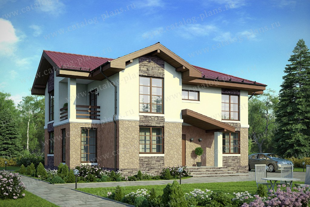 Проект жилой дом #57-98K материал - кирпич, стиль европейский