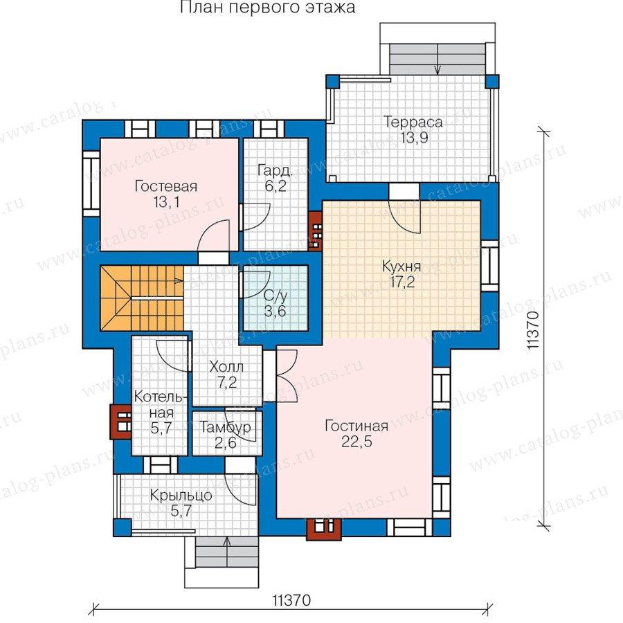 План 1-этажа проекта 57-68