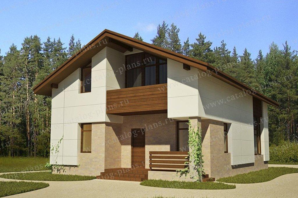 Проект жилой дом #49-71KR материал - каркас, стиль хай-тек