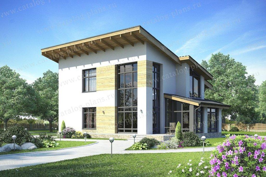 Проект жилой дом #49-70AG материал - газобетон, стиль хай-тек