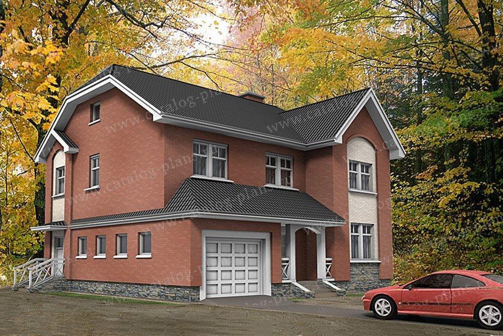 Проект жилой дом #49-80G материал - газобетон, стиль английский