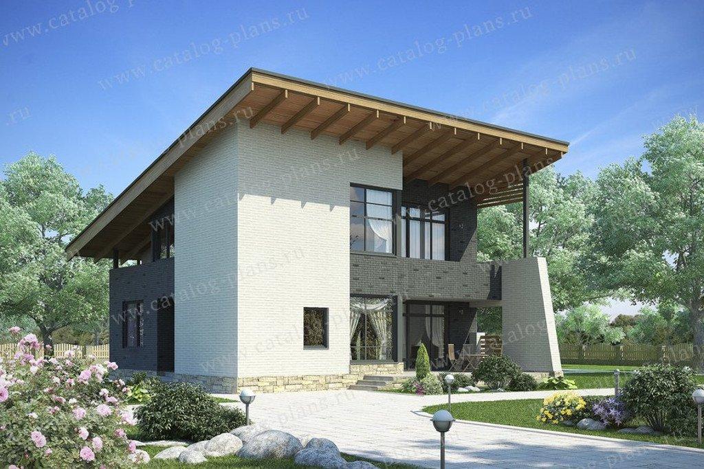 Проект жилой дом #49-70P материал - кирпич, стиль хай-тек