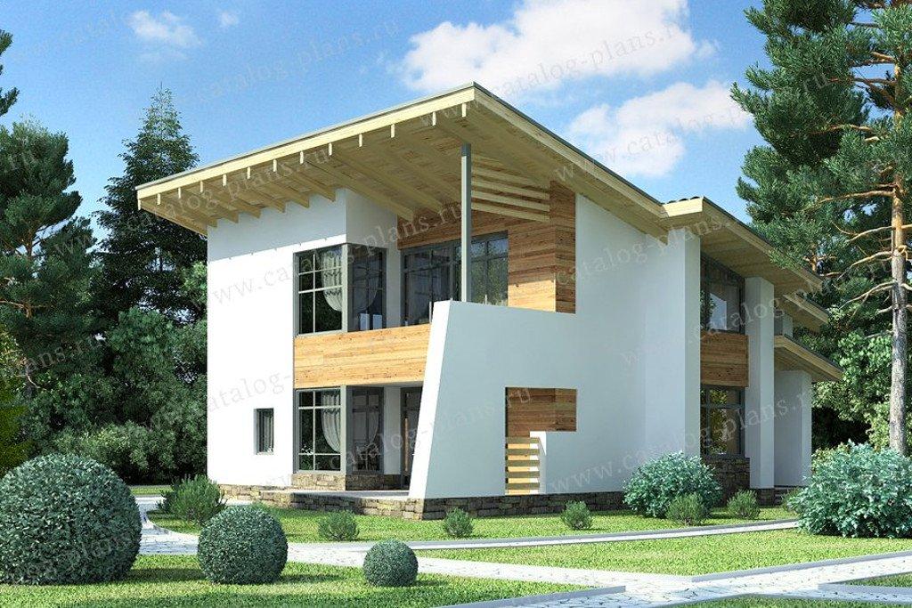 Проект жилой дом #49-70G материал - газобетон, стиль хай-тек