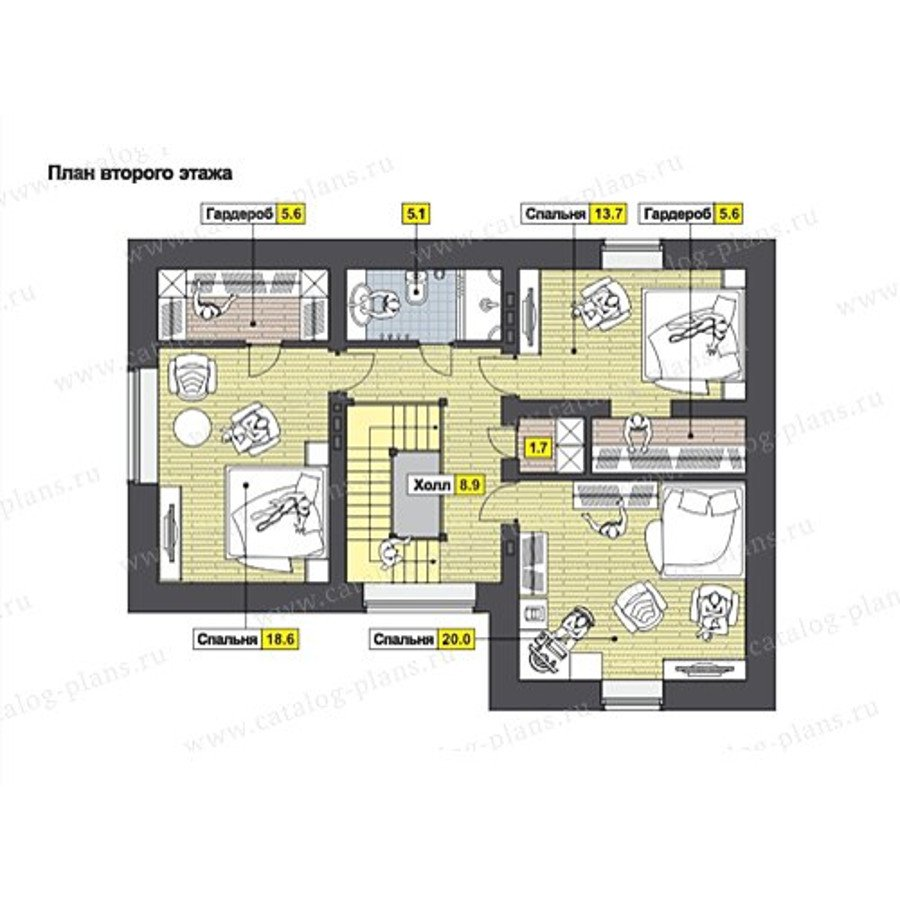 План 2-этажа проекта 49-60K