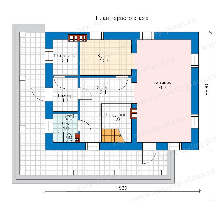 План 1-этажа проекта 57-93