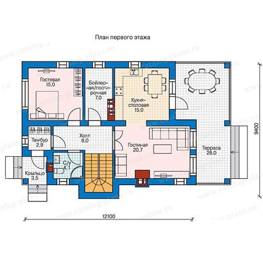 План 1-этажа проекта 58-45
