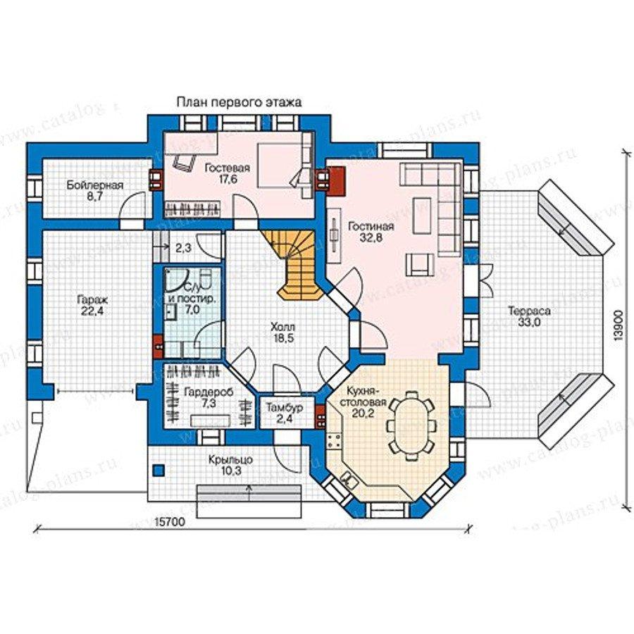 План 1-этажа проекта 58-44L