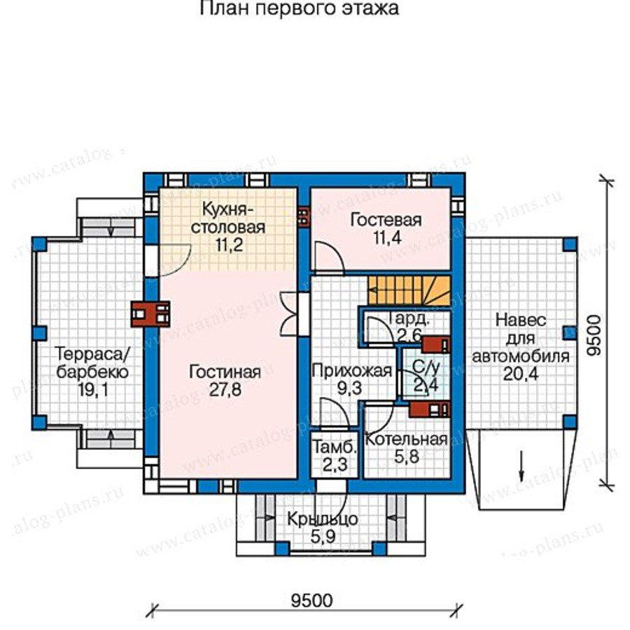 План 1-этажа проекта 57-65