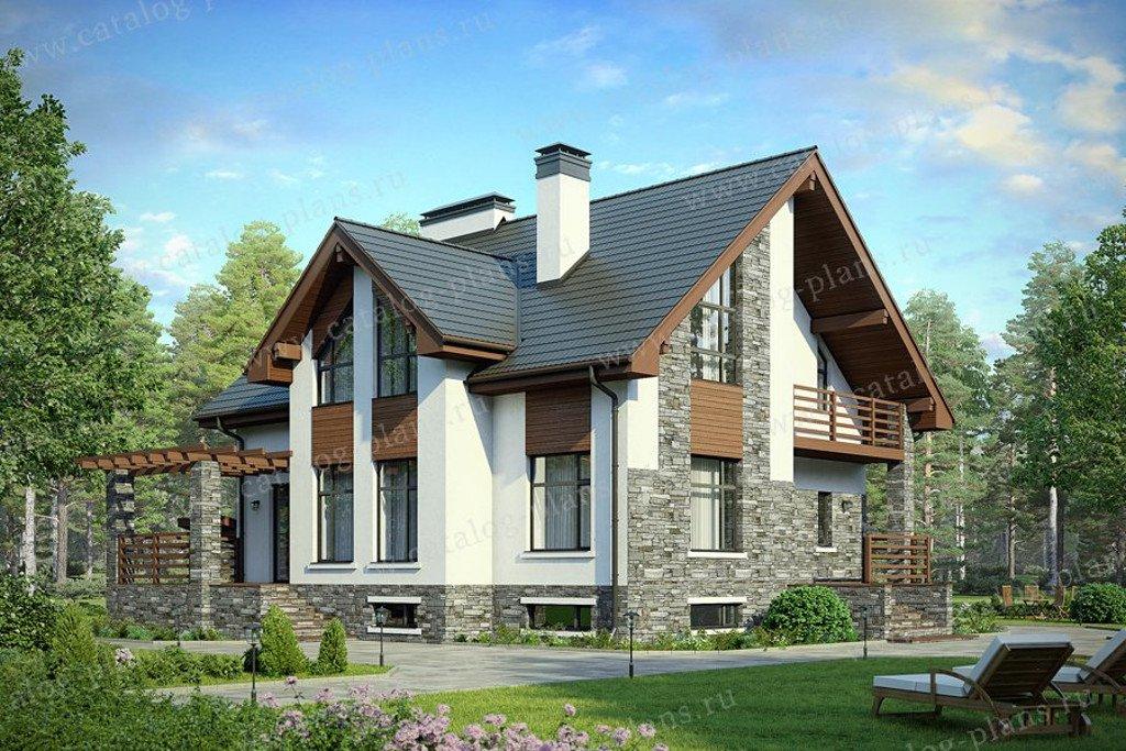 Проект жилой дом #58-49K материал - кирпич, стиль