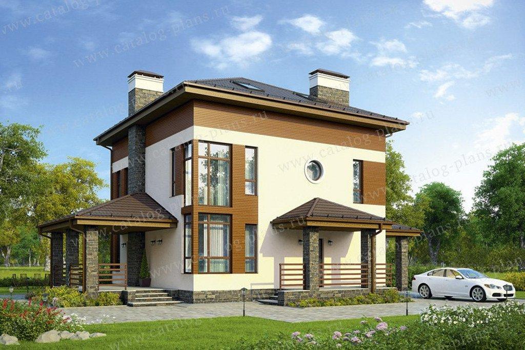 Проект двухэтажного дома из газобетона с мансардой № 57-65 в европейском стиле