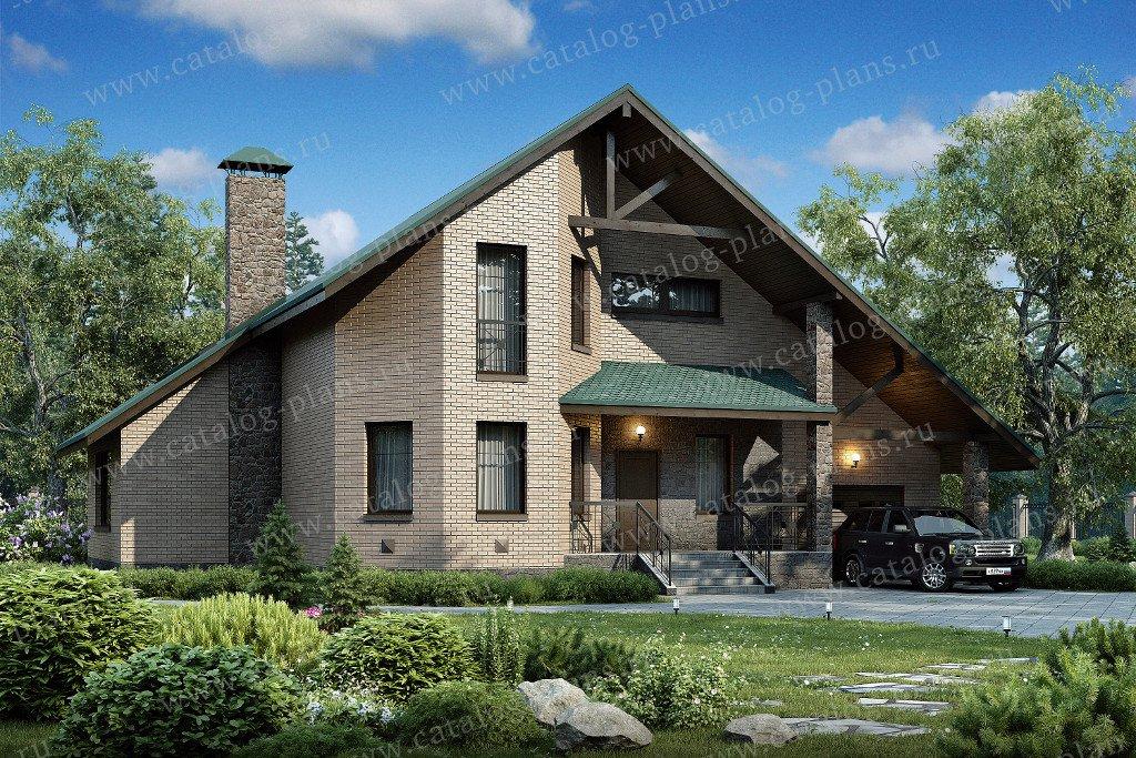 Проект жилой дом #48-04 материал - кирпич, стиль скандинавский