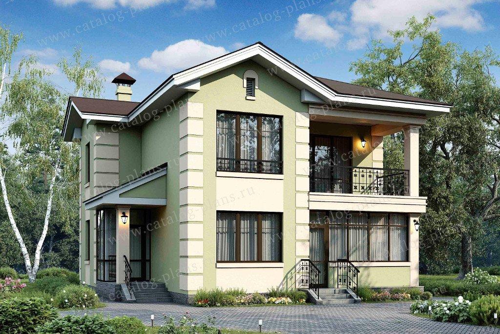 Проект жилой дом #48-03 материал - кирпич, стиль американский