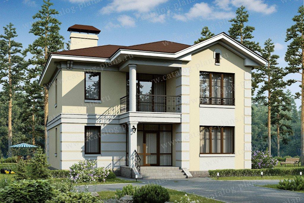 Проект жилой дом #48-01 материал - кирпич, стиль американский